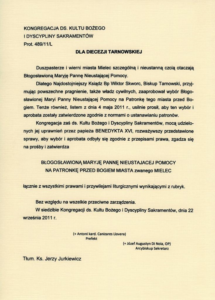 !Tłumaczenie Aktu Nadania Patronatu