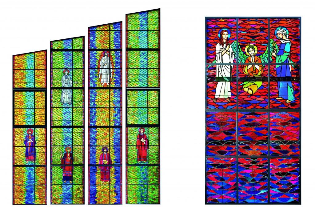 !Witraże ze wschodniej ściany kościoła